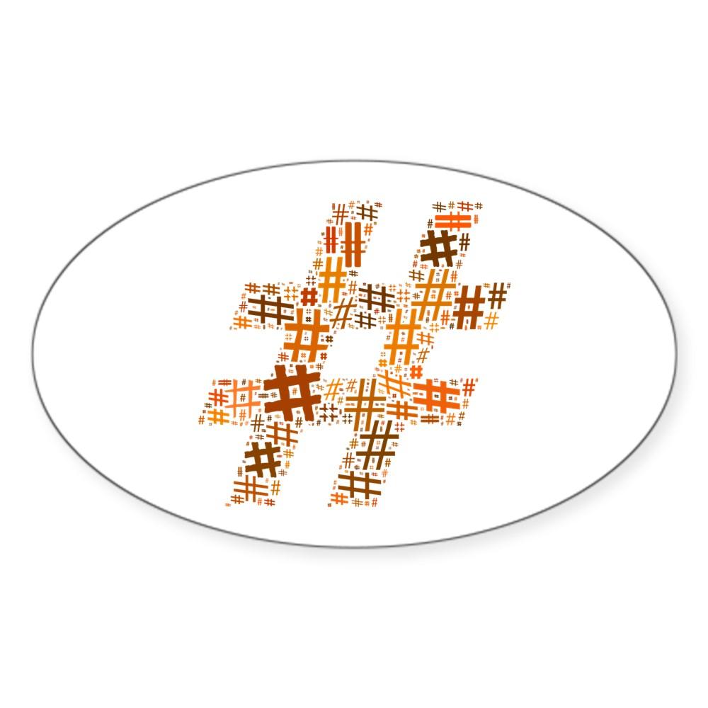 Orange Hashtag Cloud Oval Sticker