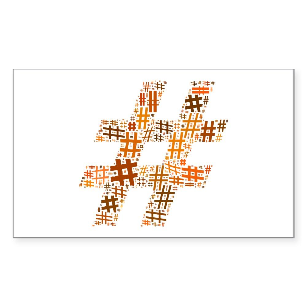 Orange Hashtag Cloud Rectangle Sticker