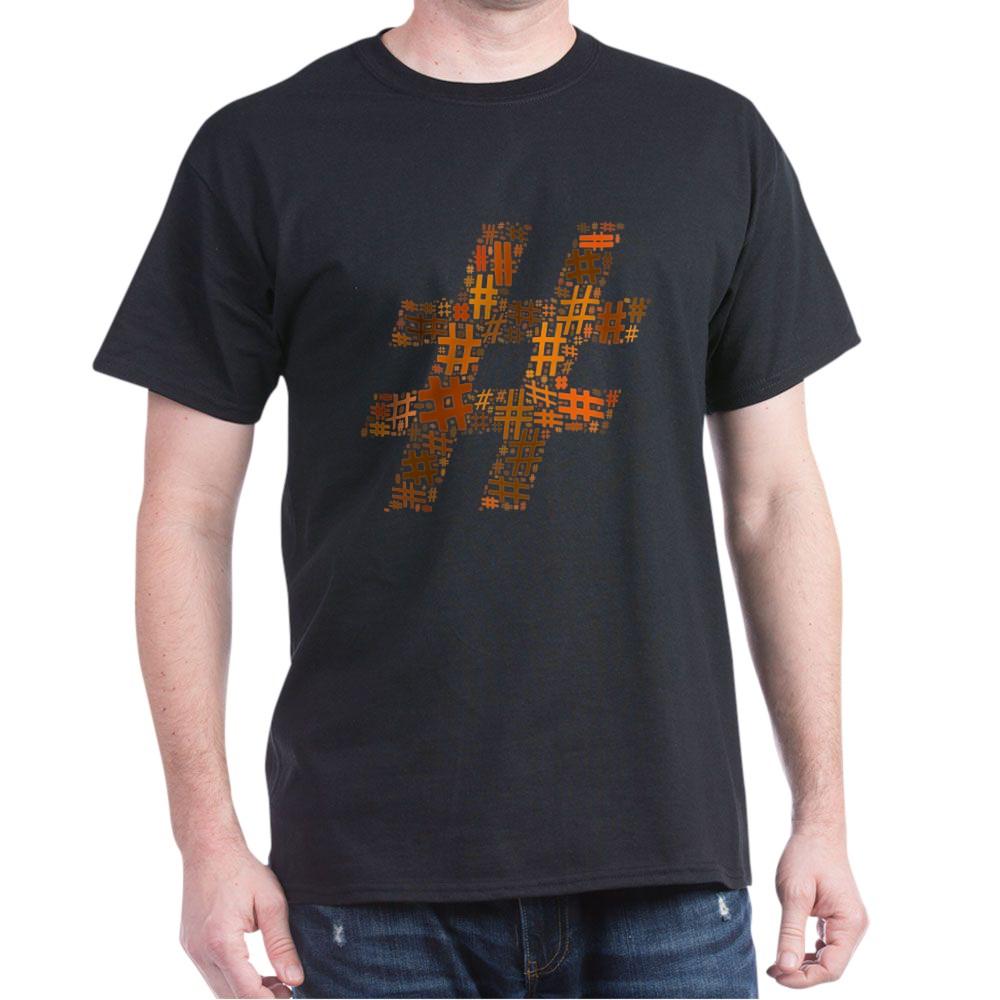 Orange Hashtag Cloud Dark T-Shirt