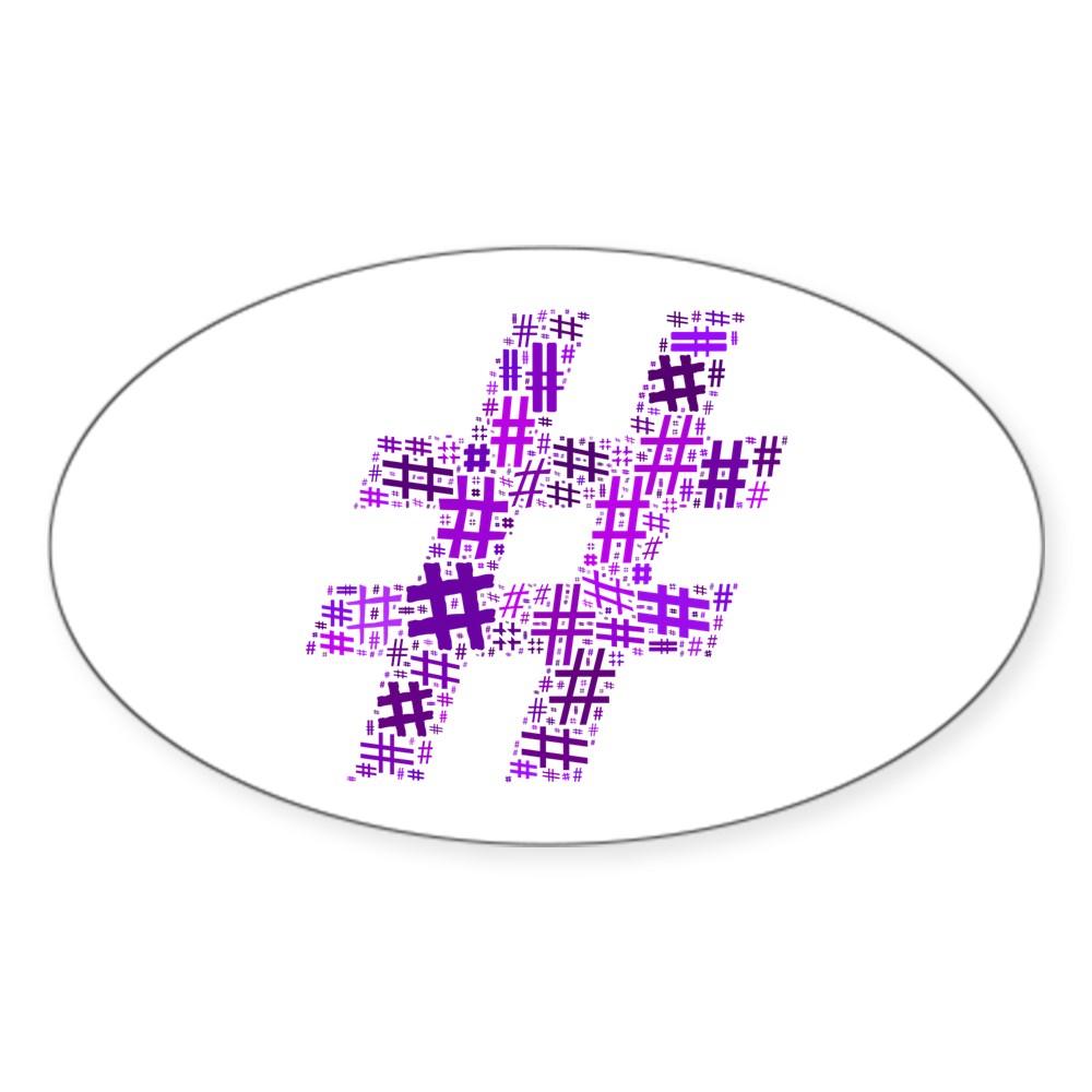 Purple Hashtag Cloud Oval Sticker