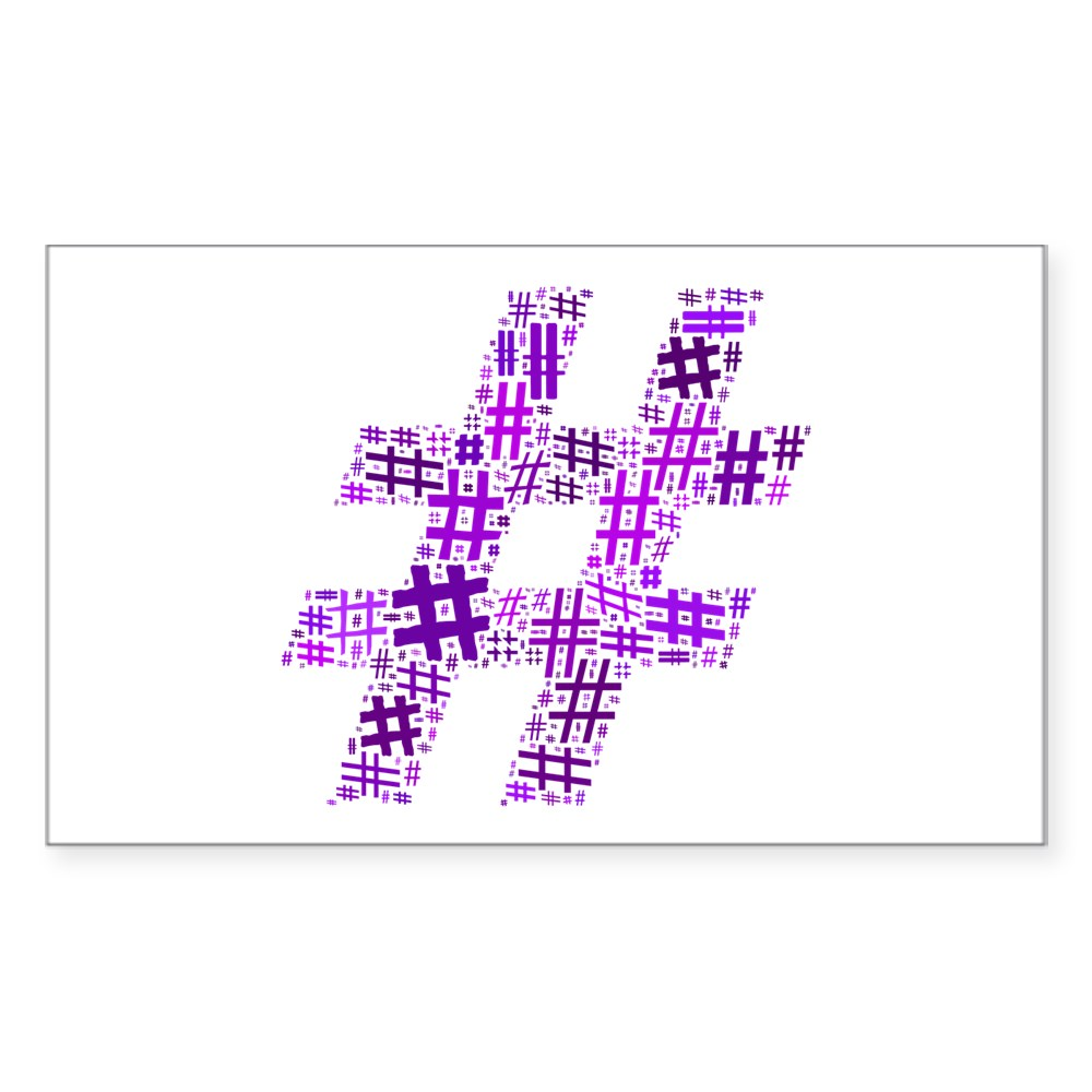 Purple Hashtag Cloud Rectangle Sticker