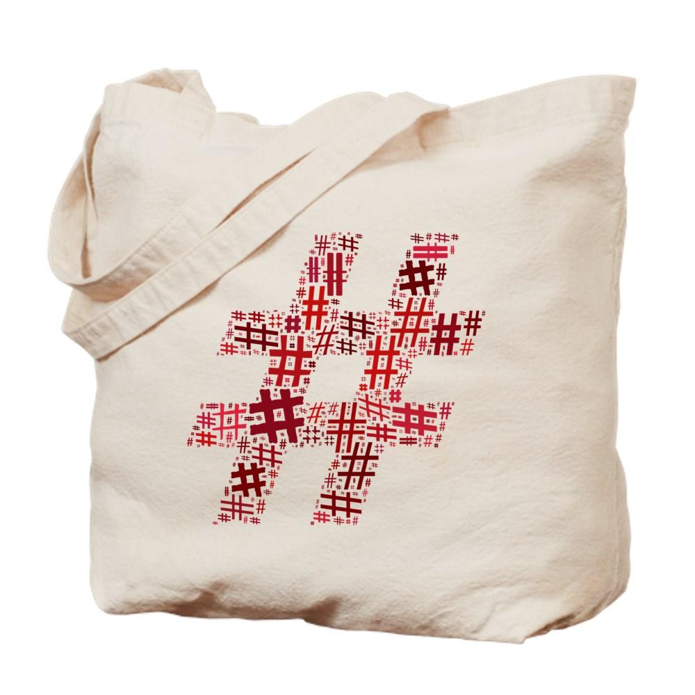 Red Hashtag Cloud Tote Bag