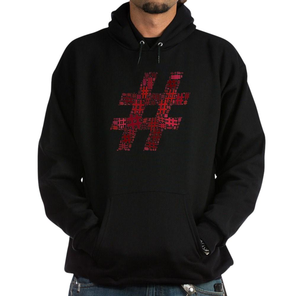 Red Hashtag Cloud Dark Hoodie