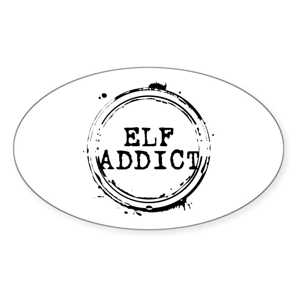 Elf Addict Stamp Oval Sticker