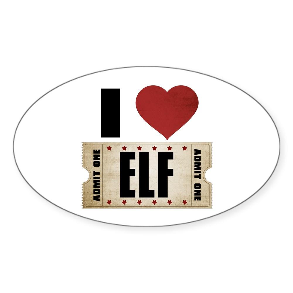 I Heart Elf Ticket Oval Sticker