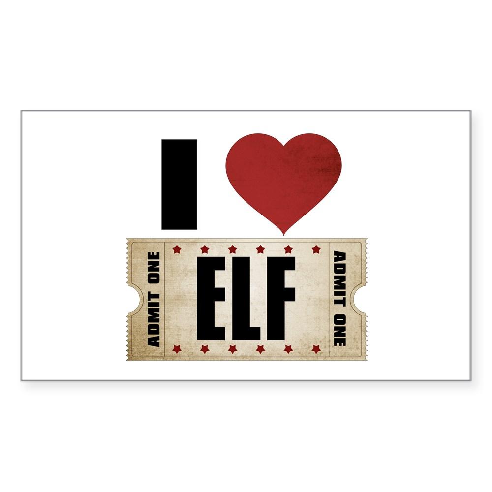 I Heart Elf Ticket Rectangle Sticker