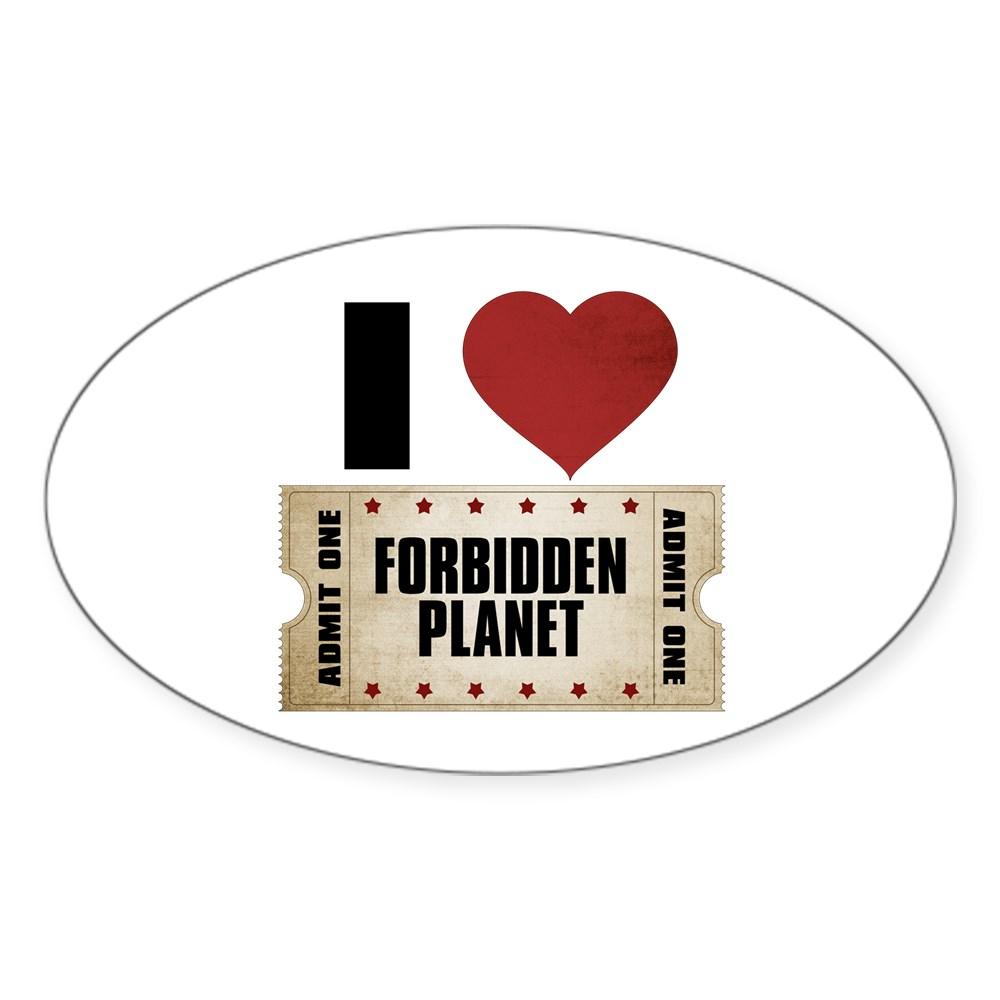 I Heart Forbidden Planet Ticket Oval Sticker
