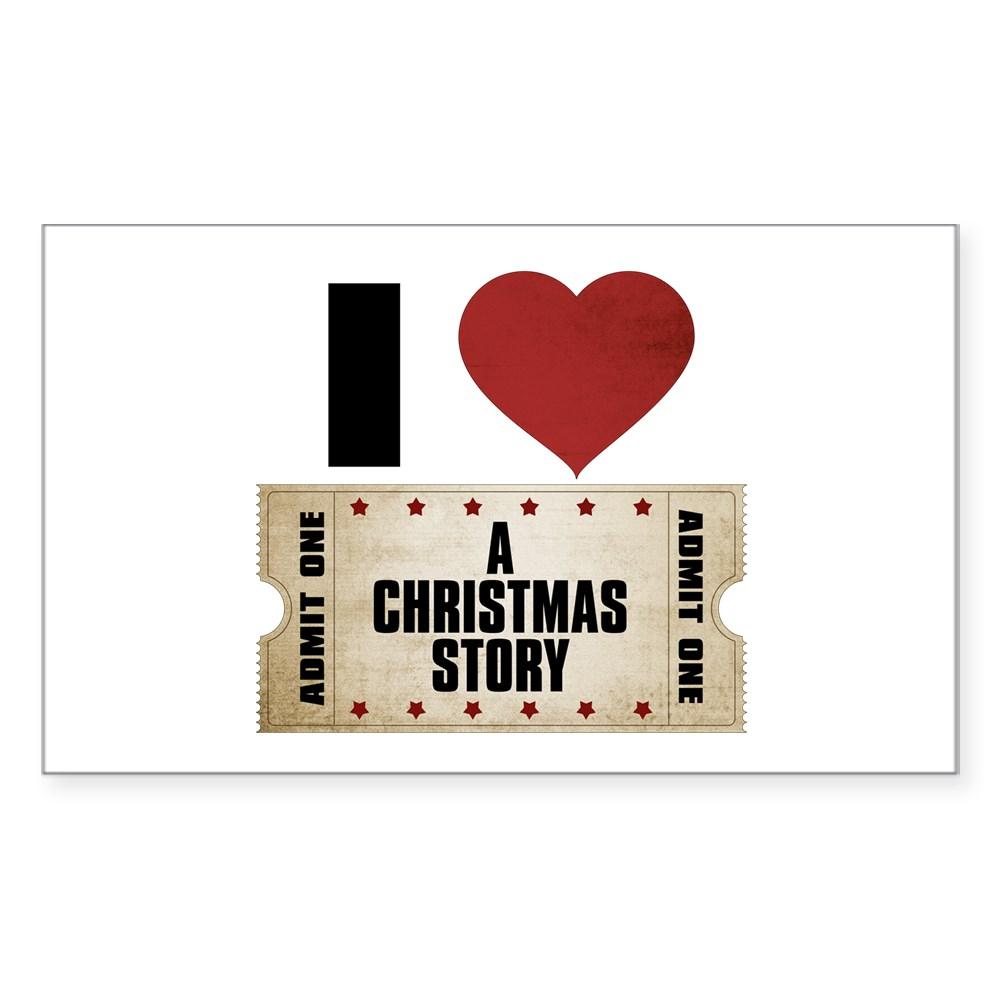 I Heart A Christmas Story Ticket Rectangle Sticker