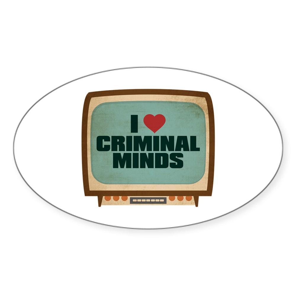 Retro I Heart Criminal Minds Oval Sticker