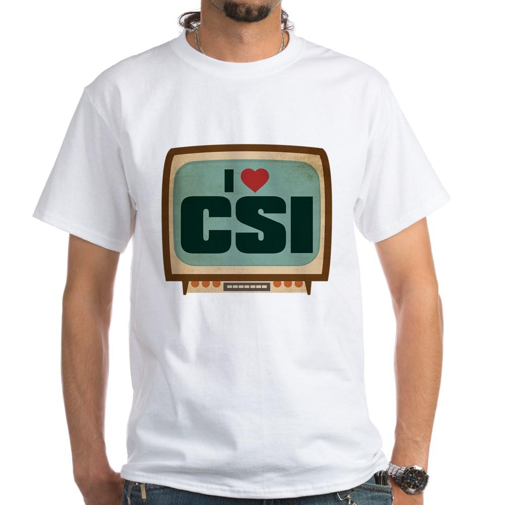 Retro I Heart CSI White T-Shirt