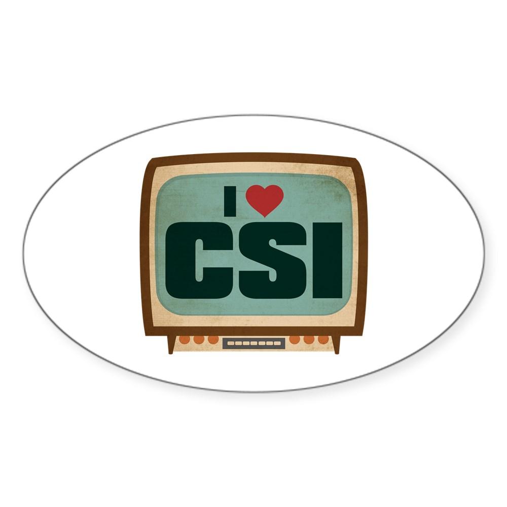 Retro I Heart CSI Oval Sticker