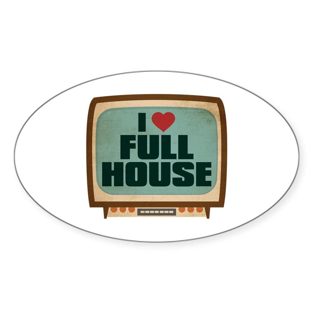 Retro I Heart Full House Oval Sticker