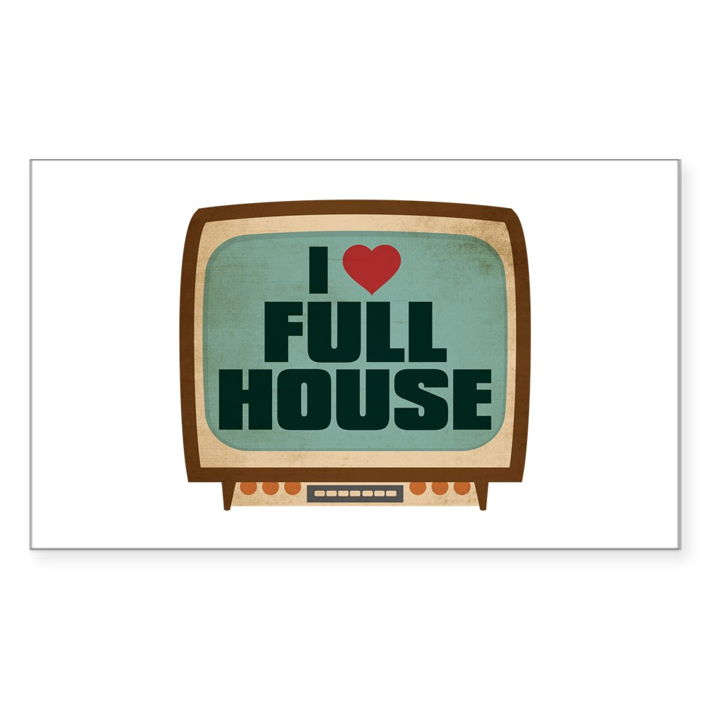 Retro I Heart Full House Rectangle Sticker