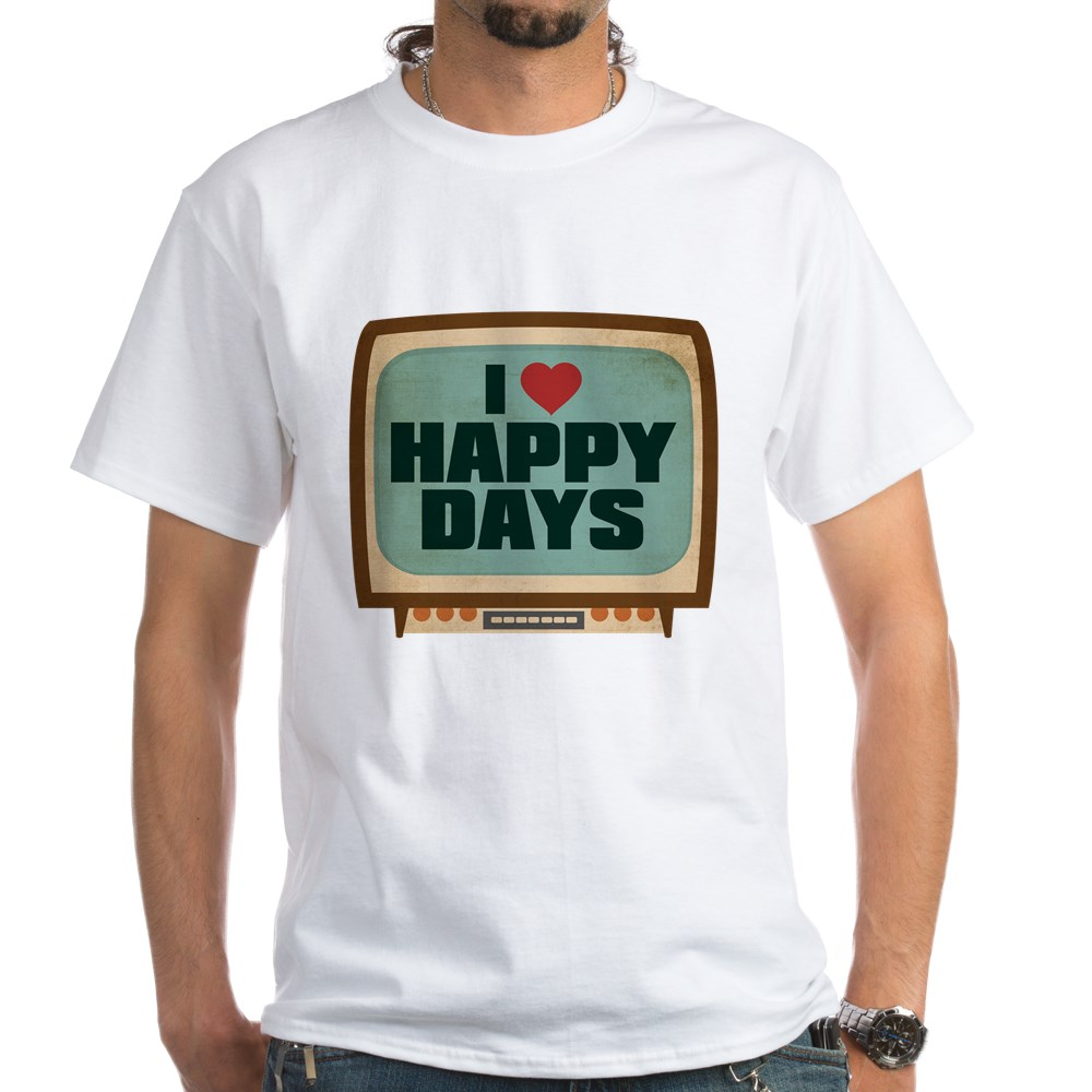 Retro I Heart Happy Days White T-Shirt