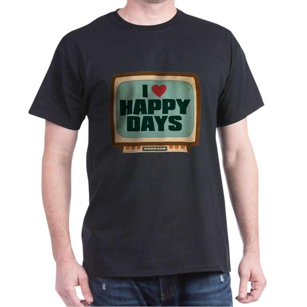 Retro I Heart Happy Days Dark T-Shirt