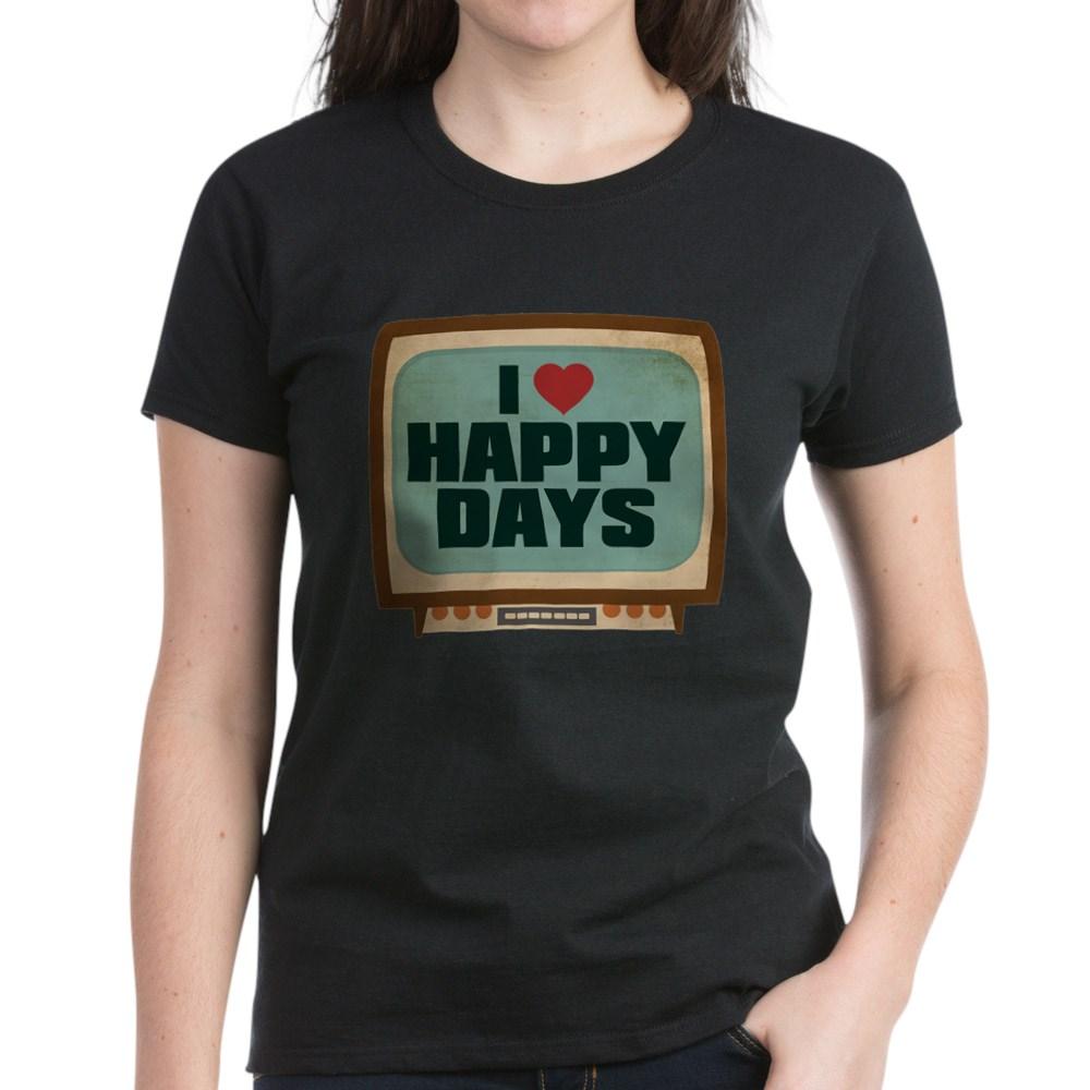 Retro I Heart Happy Days Women's Dark T-Shirt