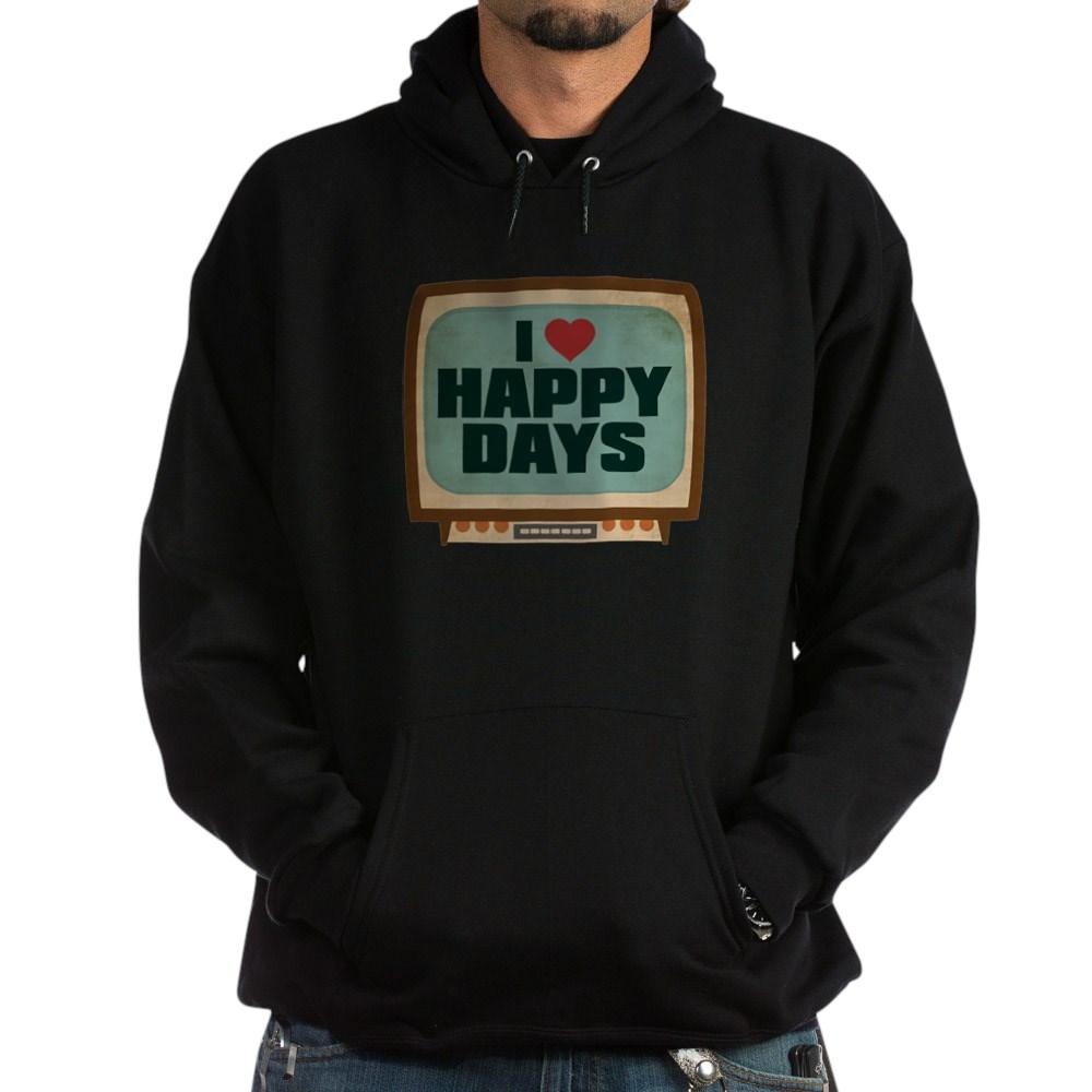 Retro I Heart Happy Days Dark Hoodie