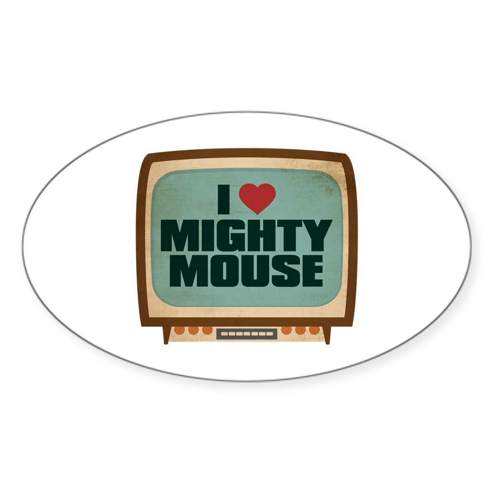 Retro I Heart Mighty Mouse Oval Sticker