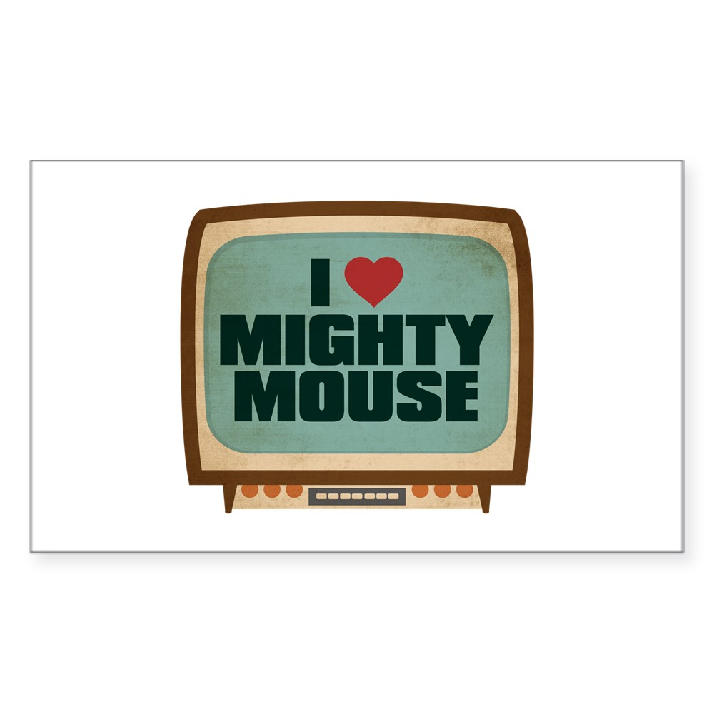 Retro I Heart Mighty Mouse Rectangle Sticker