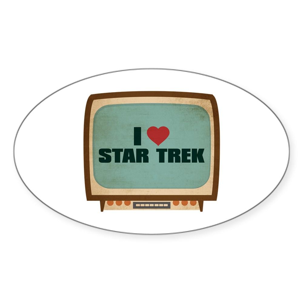 Retro I Heart Star Trek Oval Sticker
