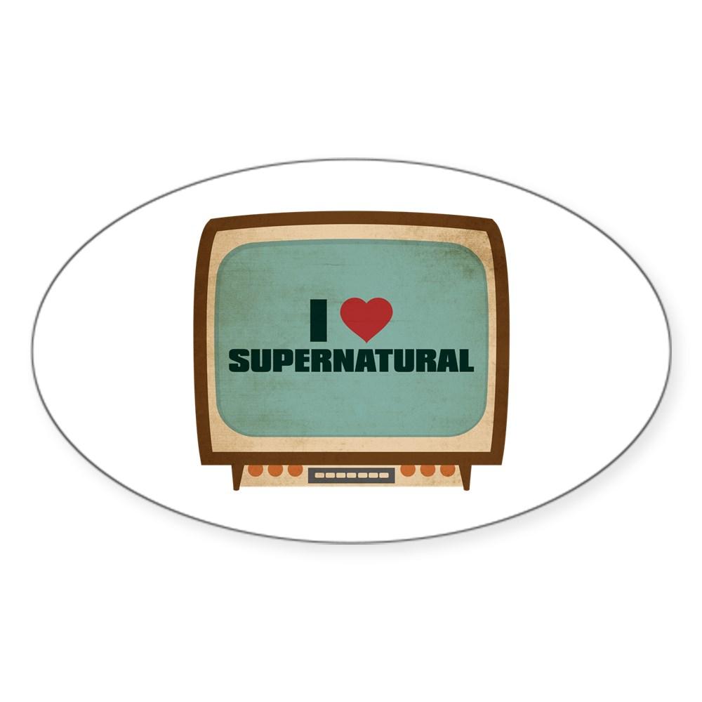 Retro I Heart Supernatural Oval Sticker