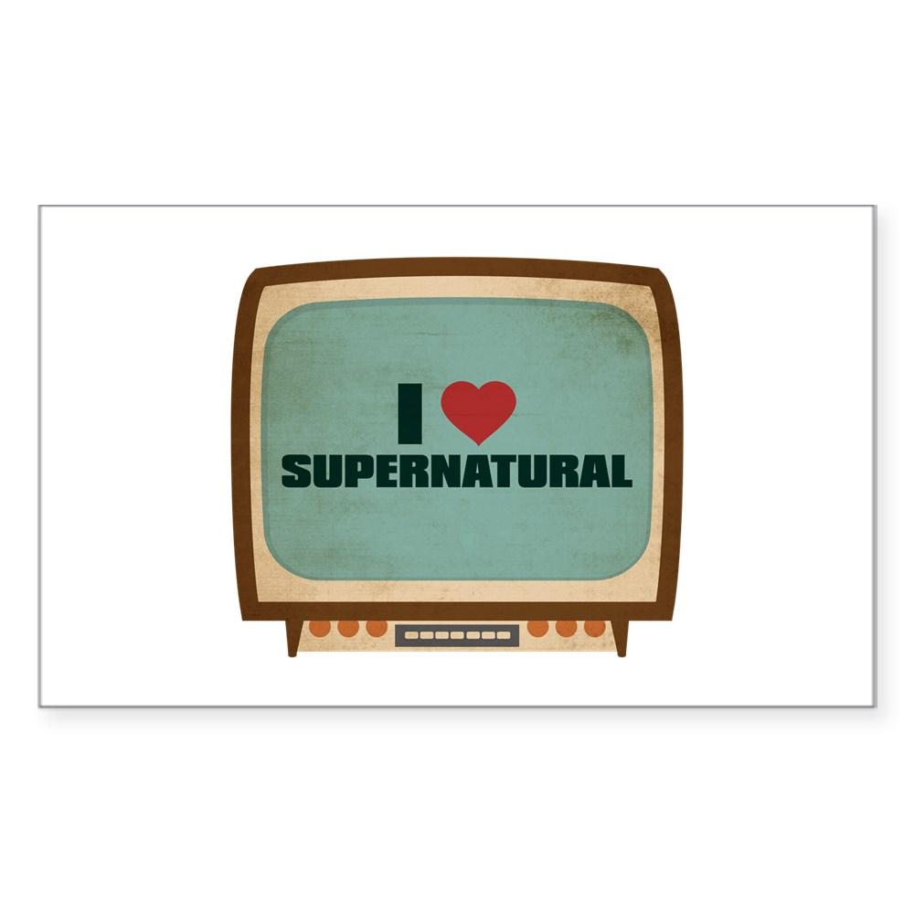 Retro I Heart Supernatural Rectangle Sticker