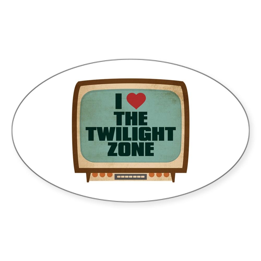 Retro I Heart The Twilight Zone Oval Sticker