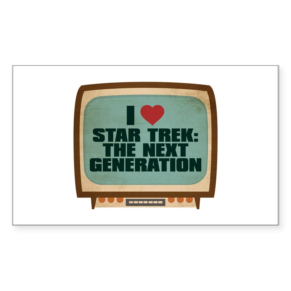 Retro I Heart Star Trek: The Next Generation Rectangle Sticker