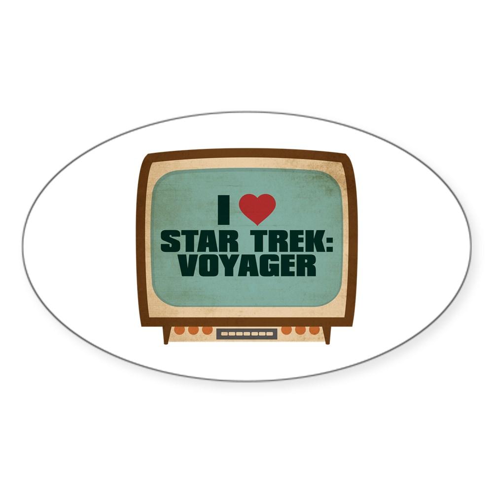 Retro I Heart Star Trek: Voyager Oval Sticker