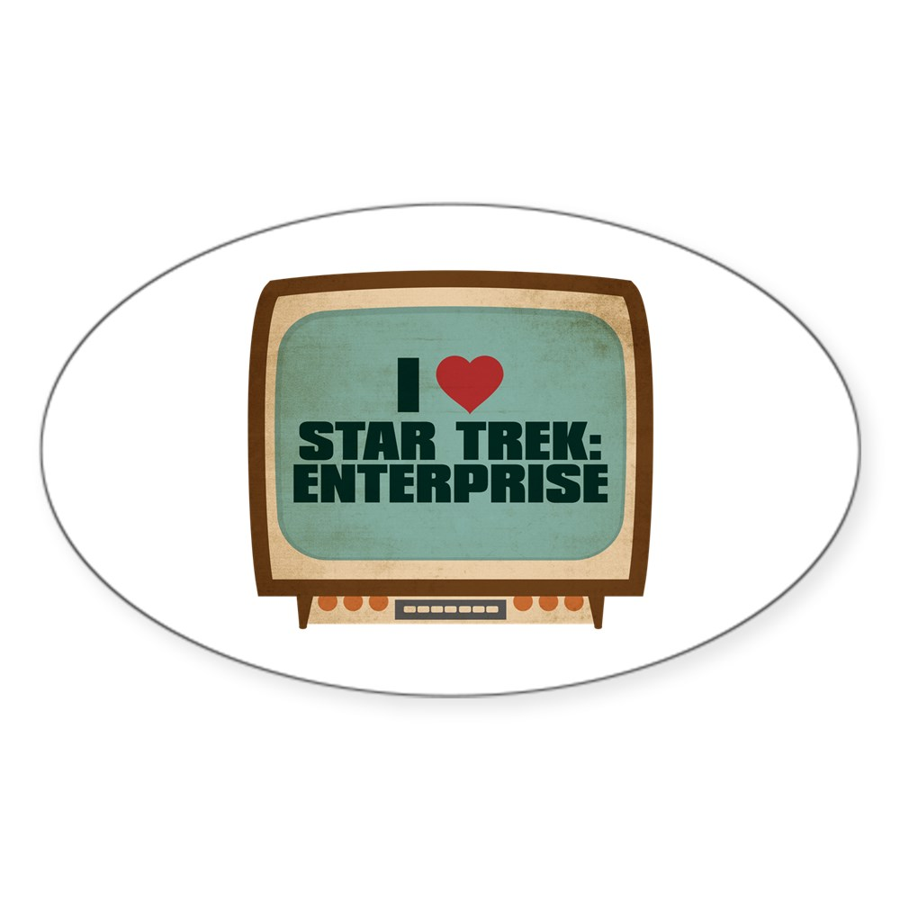 Retro I Heart Star Trek: Enterprise Oval Sticker