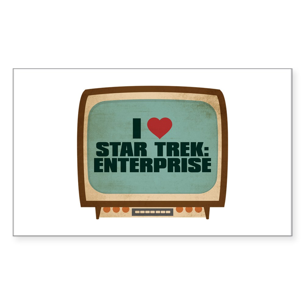 Retro I Heart Star Trek: Enterprise Rectangle Sticker