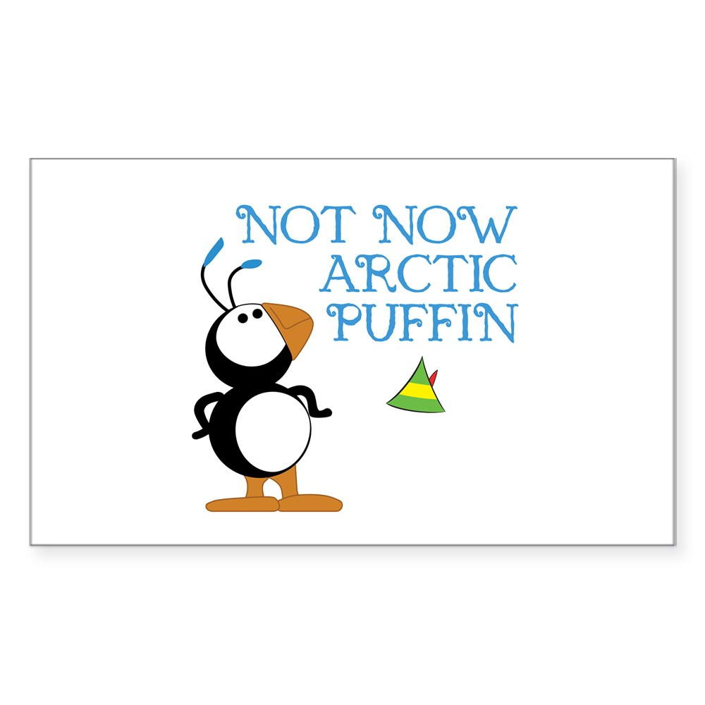 Not Now Arctic Puffin Rectangle Sticker
