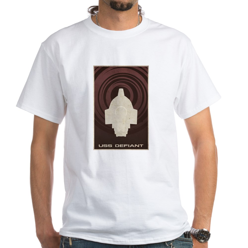 Minimal USS Defiant Poster Design White T-Shirt