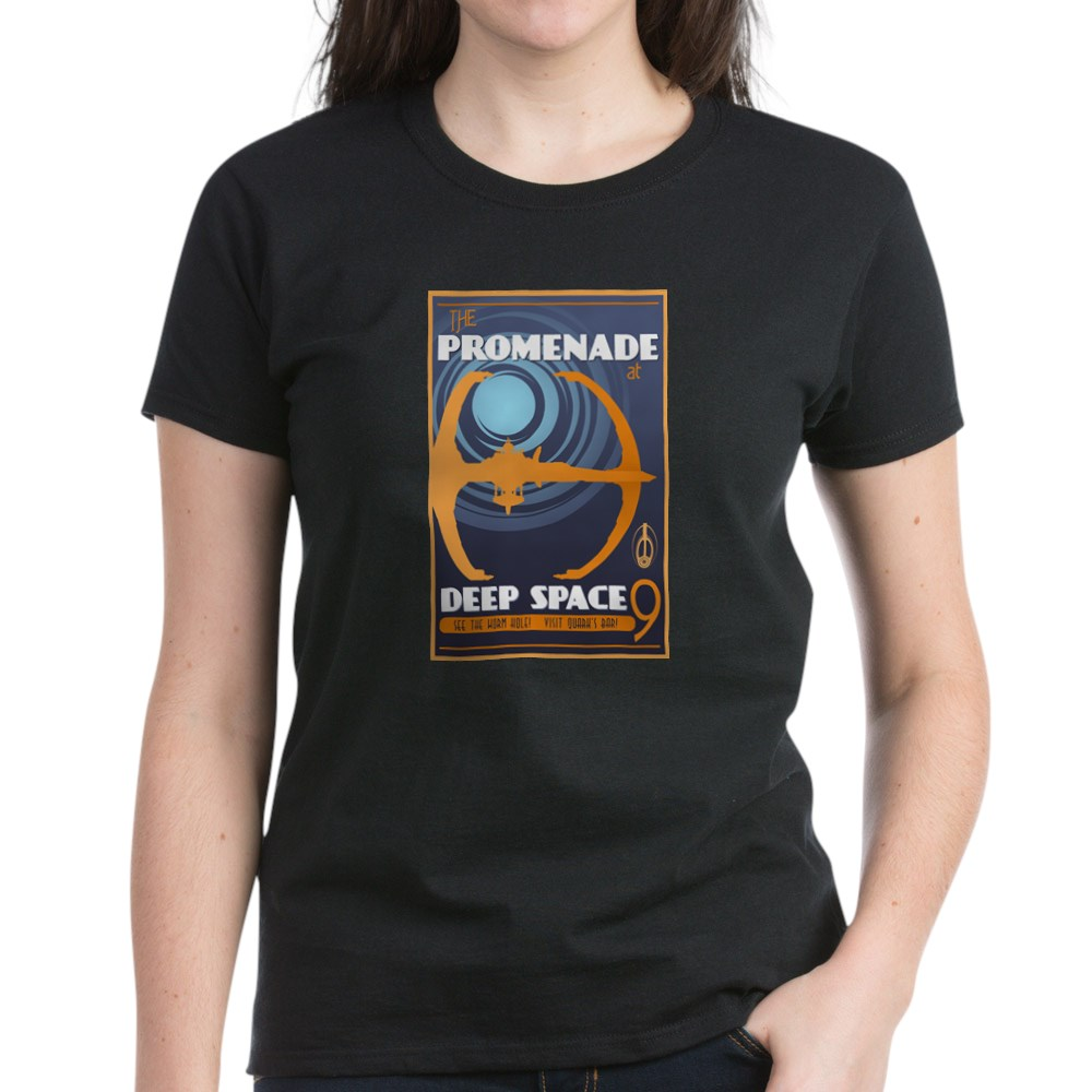 The Promenade at DS9 Vintage Travel Poster Women's Dark T-Shirt