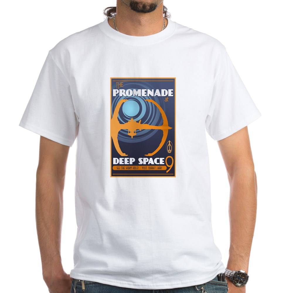 The Promenade at DS9 Vintage Travel Poster White T-Shirt