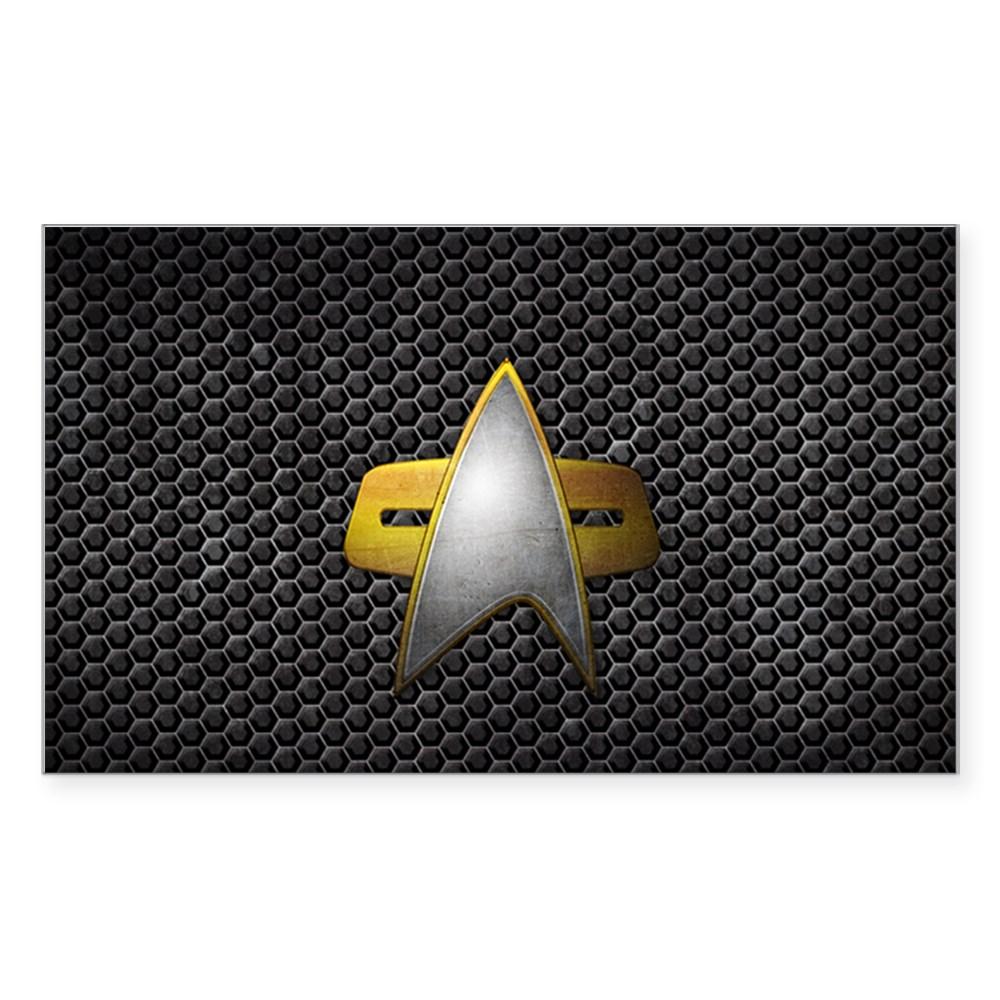 Grunge Starfleet Comm Badge Rectangle Sticker