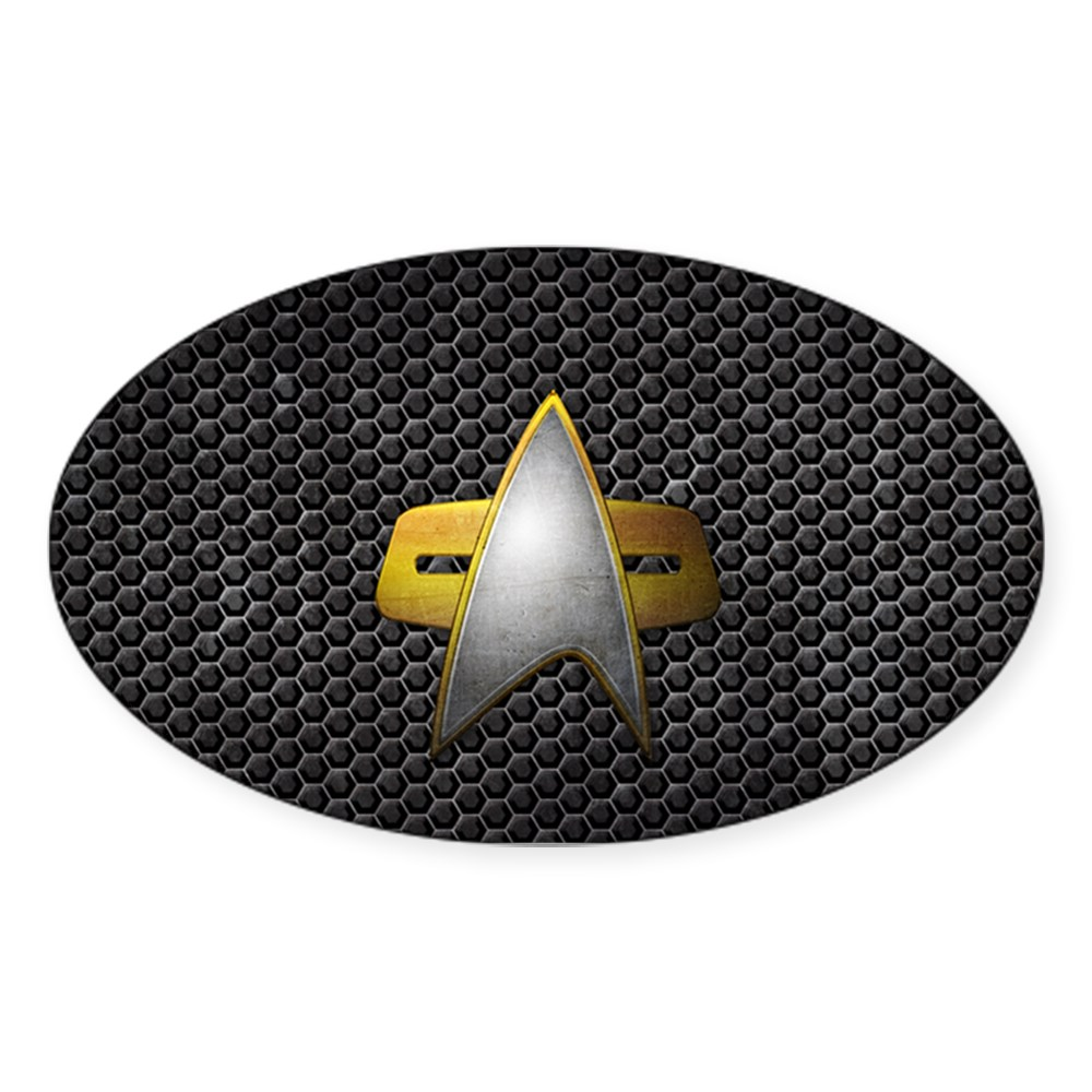 Grunge Starfleet Comm Badge Oval Sticker
