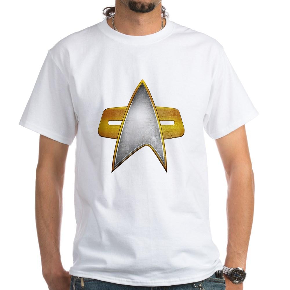 Distressed Starfleet Comm Badge White T-Shirt
