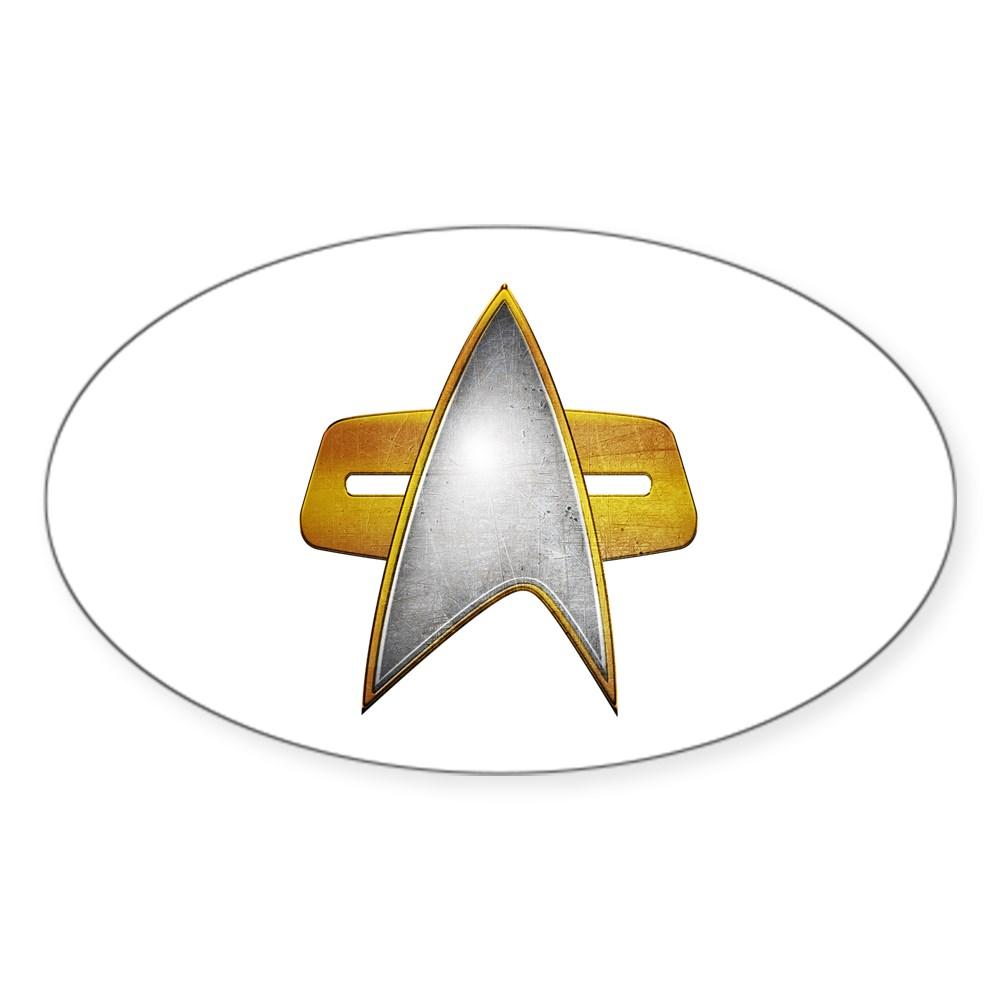 Distressed Starfleet Comm Badge Oval Sticker