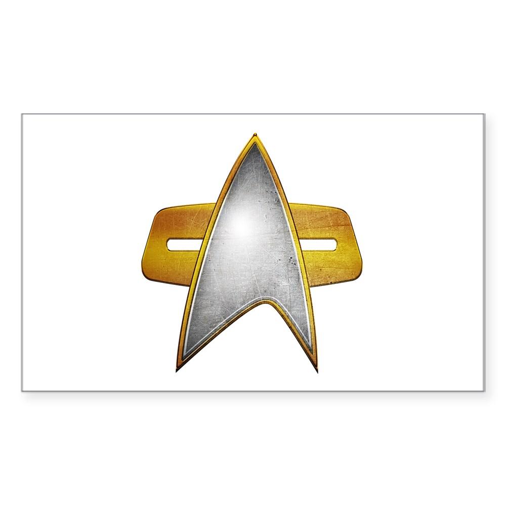 Distressed Starfleet Comm Badge Rectangle Sticker