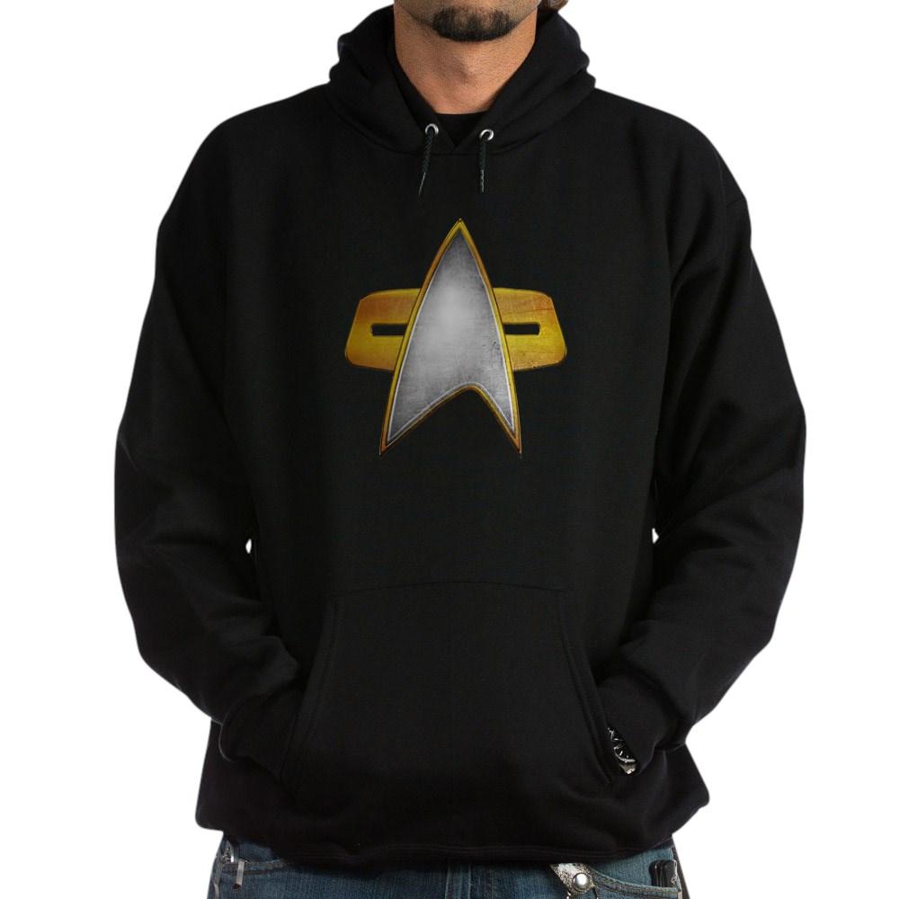 Distressed Starfleet Comm Badge Dark Hoodie