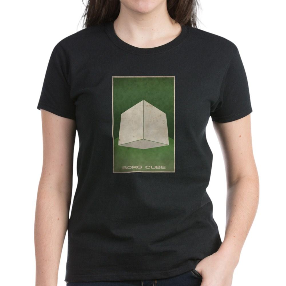 Minimal Borg Cube Poster Design Women's Dark T-Shirt
