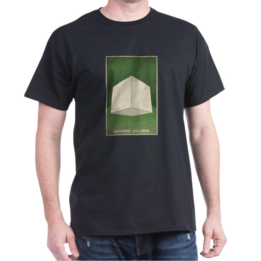 Minimal Borg Cube Poster Design Dark T-Shirt