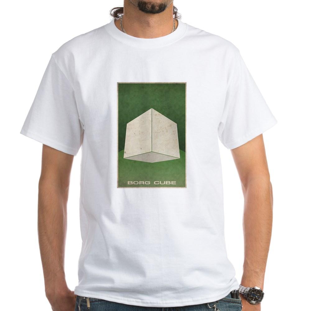 Minimal Borg Cube Poster Design White T-Shirt