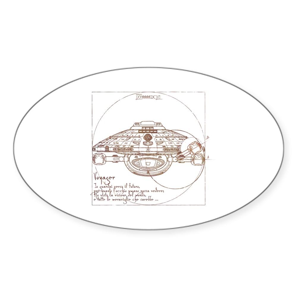 Vitruvian Voyager Oval Sticker