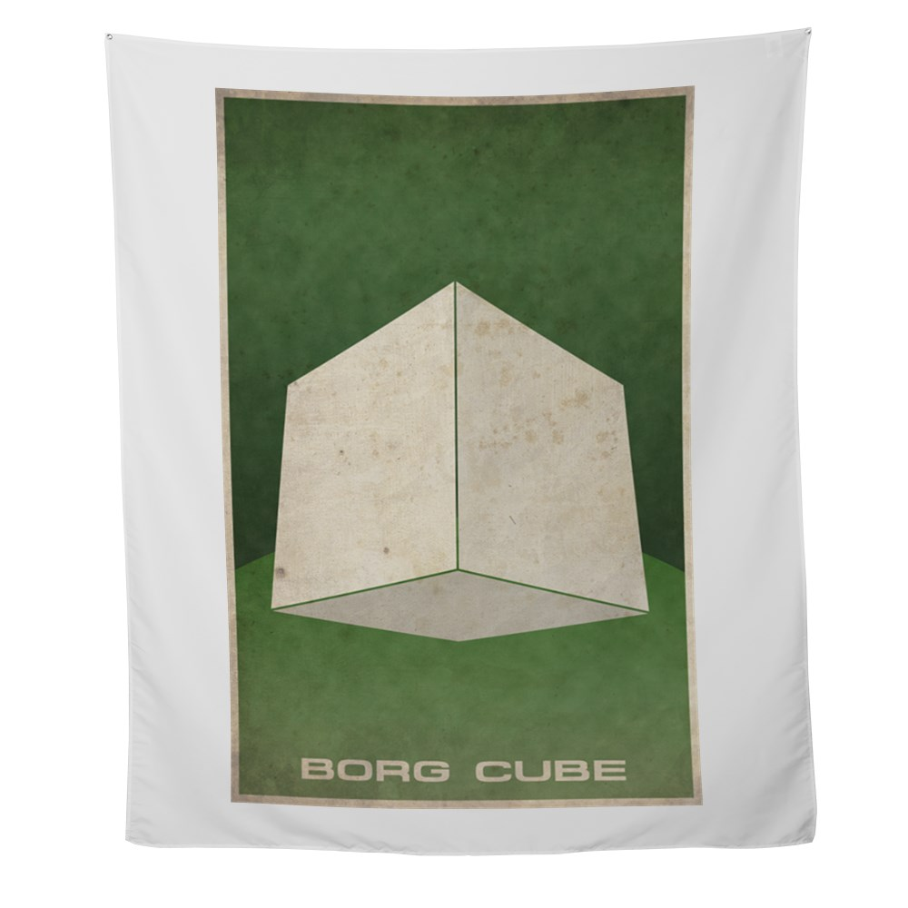 Minimal Borg Cube Poster Design Wall Tapestry