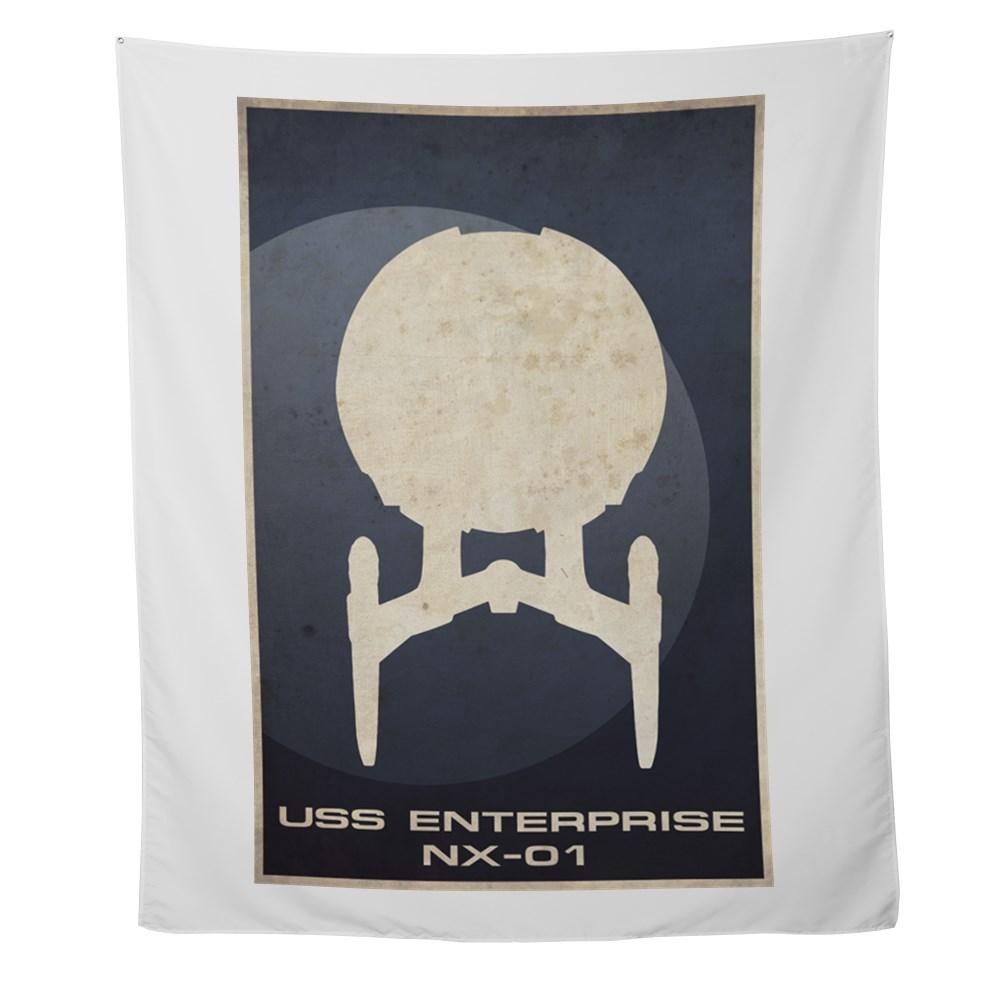 Minimal USS Enterprise NX-01Poster Design Wall Tapestry