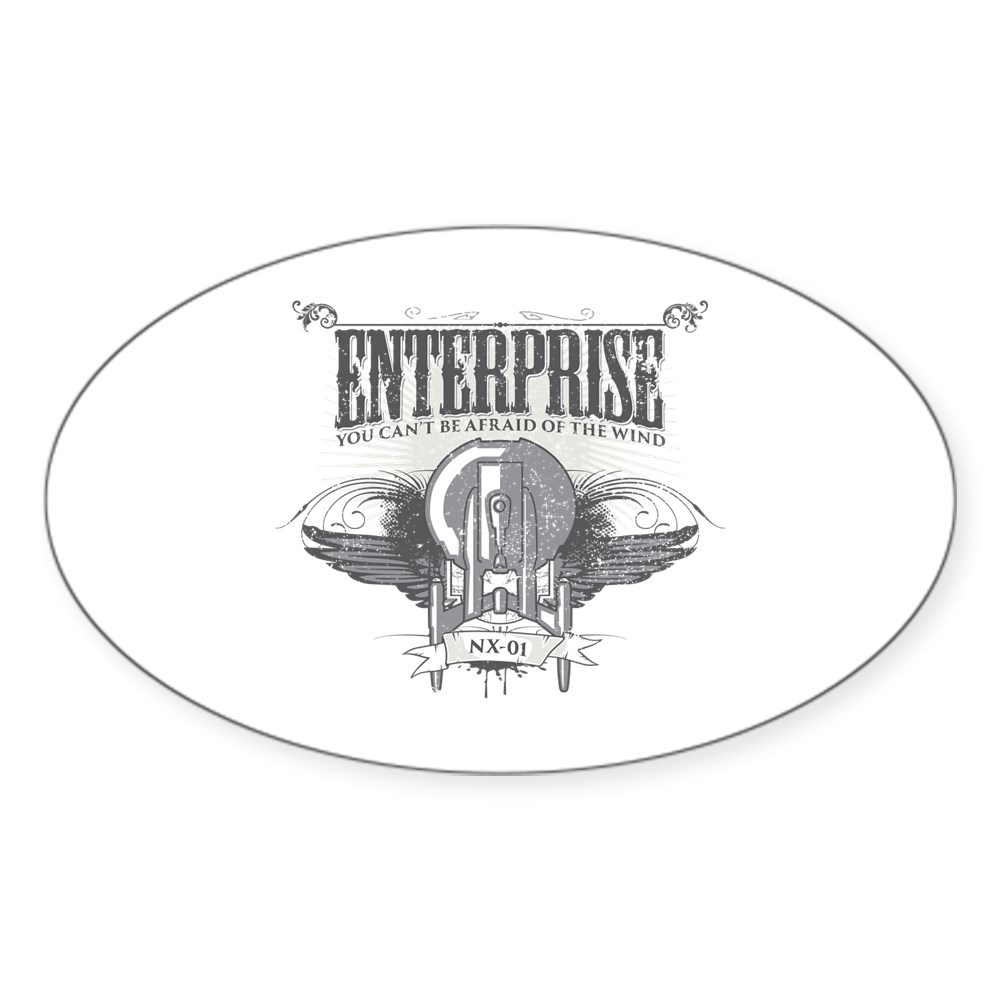Afraid of the Wind Enterprise Oval Sticker