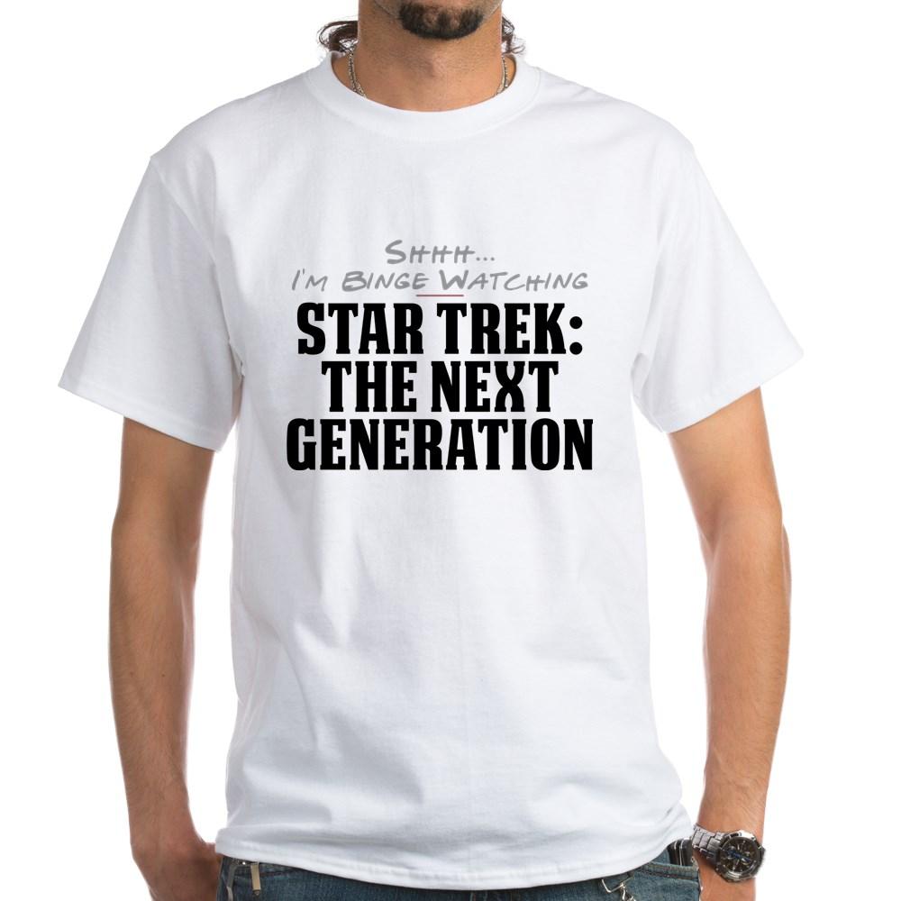 Shhh... I'm Binge Watching Star Trek: The Next Generation White T-Shirt