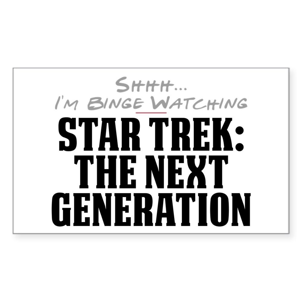 Shhh... I'm Binge Watching Star Trek: The Next Generation Rectangle Sticker